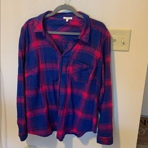 Pink and Blue Flannel Button Down Shirt